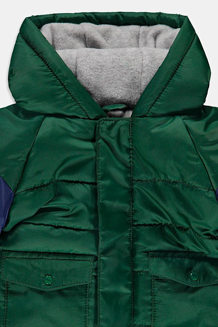 Gewatteerde jas met fleece voering en capuchon, BOTTLE GREEN, detail image number 2