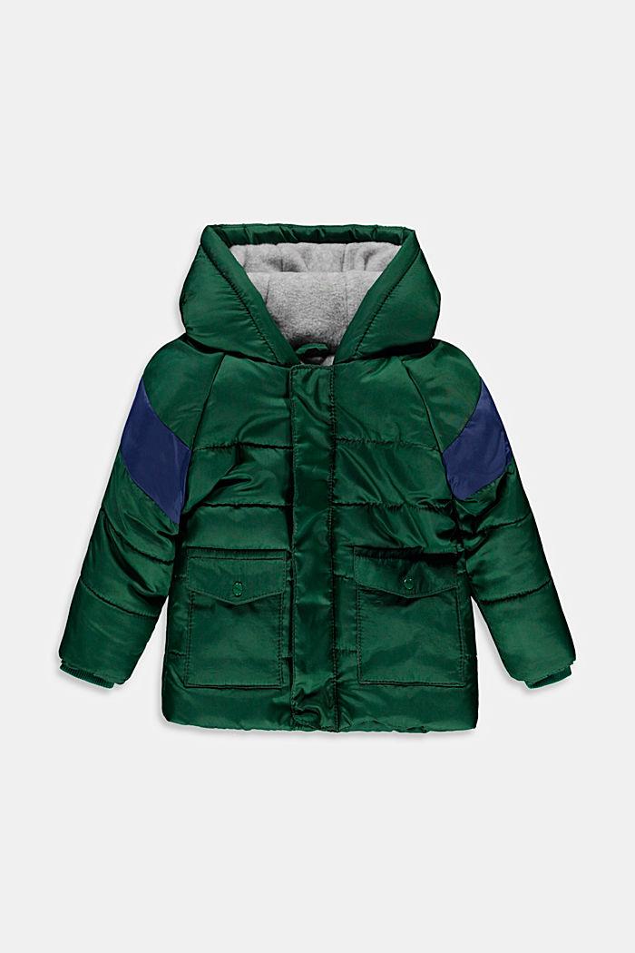 Gewatteerde jas met fleece voering en capuchon, BOTTLE GREEN, detail image number 0
