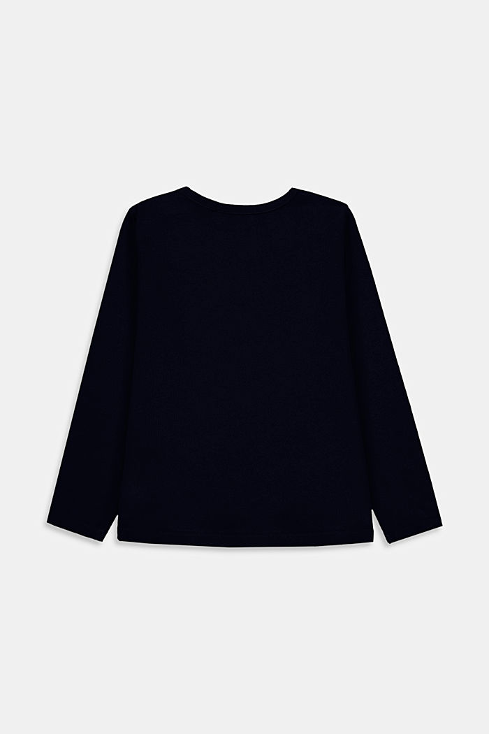 Maglia a maniche lunghe con stampa in cotone, NAVY, detail image number 1