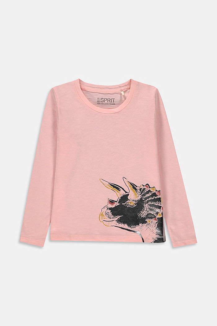 Long sleeve top with a print made of organic cotton, PASTEL PINK, detail image number 0