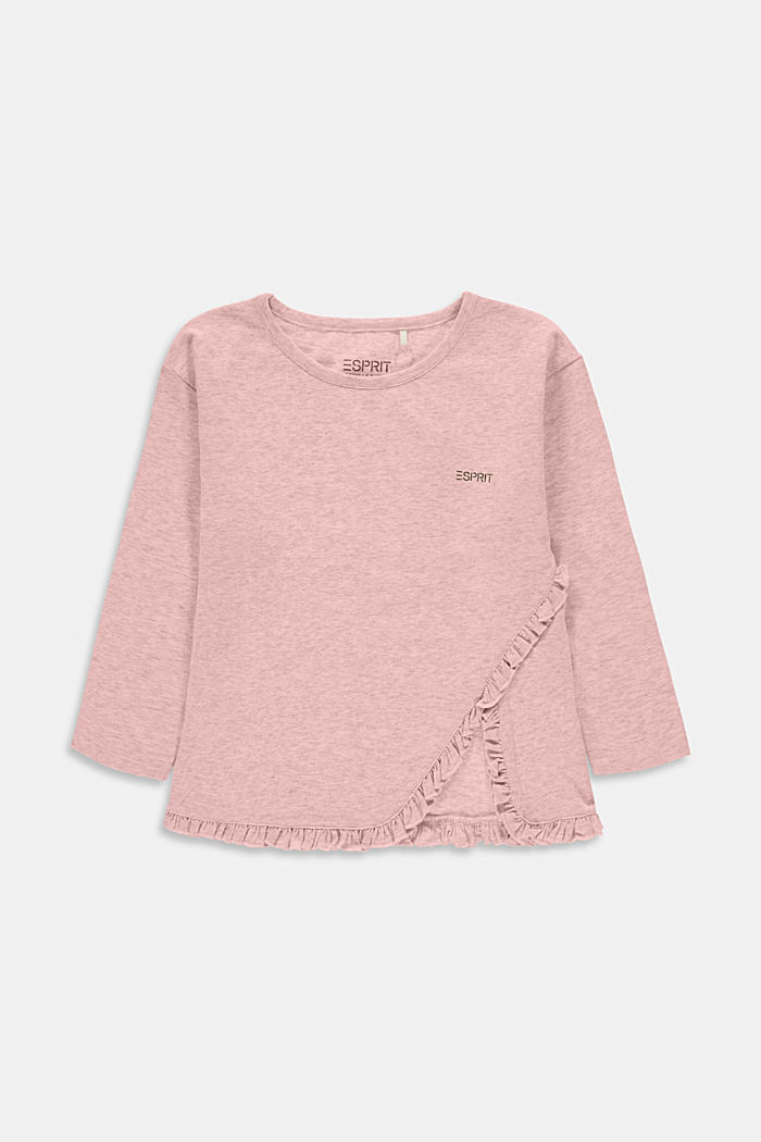 En matière recyclée: le t-shirt à manches longues et ruches, PASTEL PINK, detail image number 0