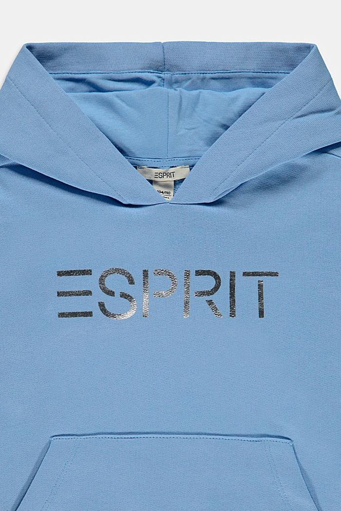 Bluza z kapturem z błyszczącym, nadrukowanym logo, 100% bawełny, BRIGHT BLUE, detail image number 2