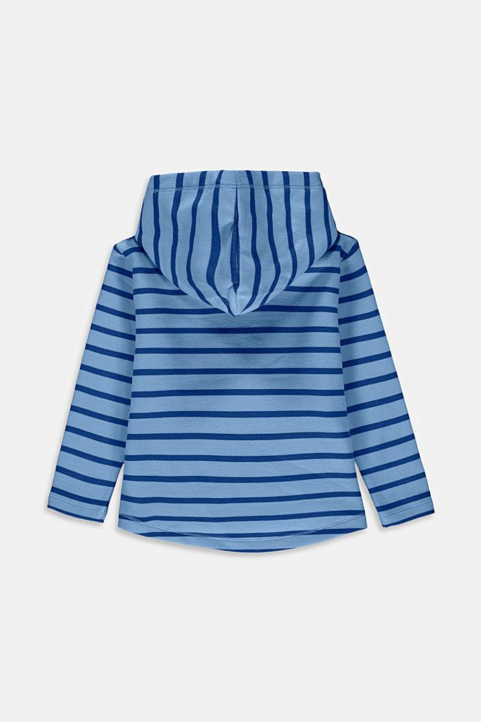 Felpa in cotone con cappuccio e motivo a righe, BRIGHT BLUE, detail image number 1