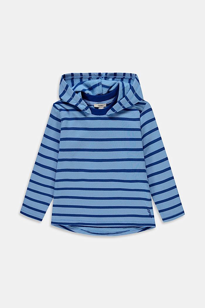 Felpa in cotone con cappuccio e motivo a righe, BRIGHT BLUE, detail image number 0