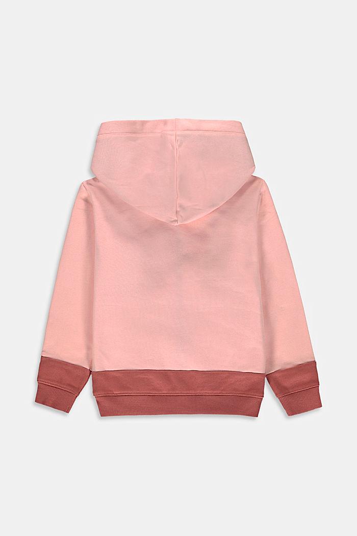 Felpa con cappuccio e zip, realizzata in cotone e dal look a blocchi di colore