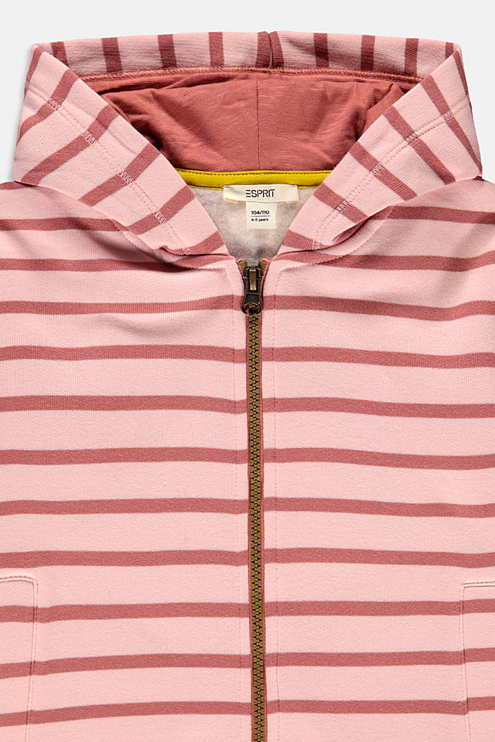 Zapinana na zamek, bawełniana bluza w paski, PASTEL PINK, detail image number 2