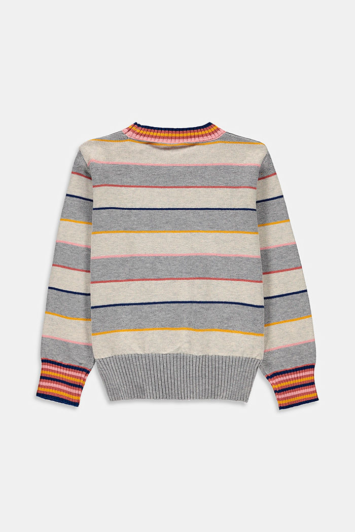 Colourful striped jumper made of blended cotton, SILVER , detail image number 1