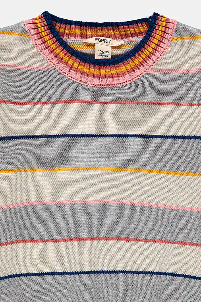 Colourful striped jumper made of blended cotton, SILVER , detail image number 2