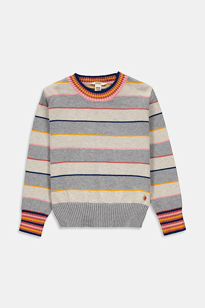 Colourful striped jumper made of blended cotton, SILVER , detail image number 0