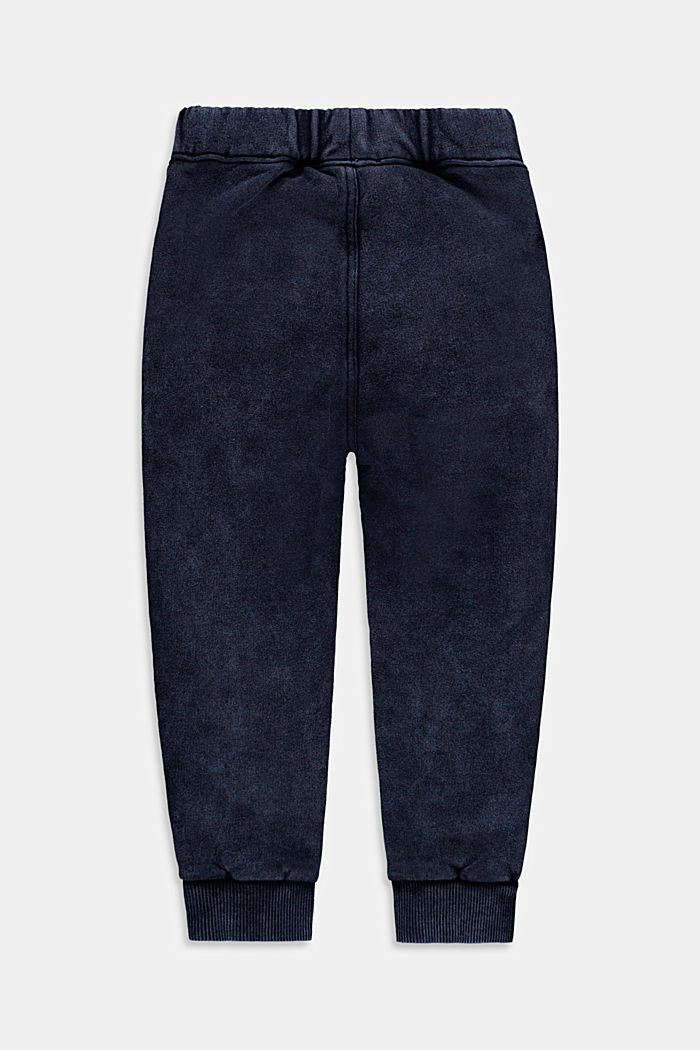 Tracksuit bottoms with a washed finish, 100% cotton, BLUE DARK WASHED, detail image number 1