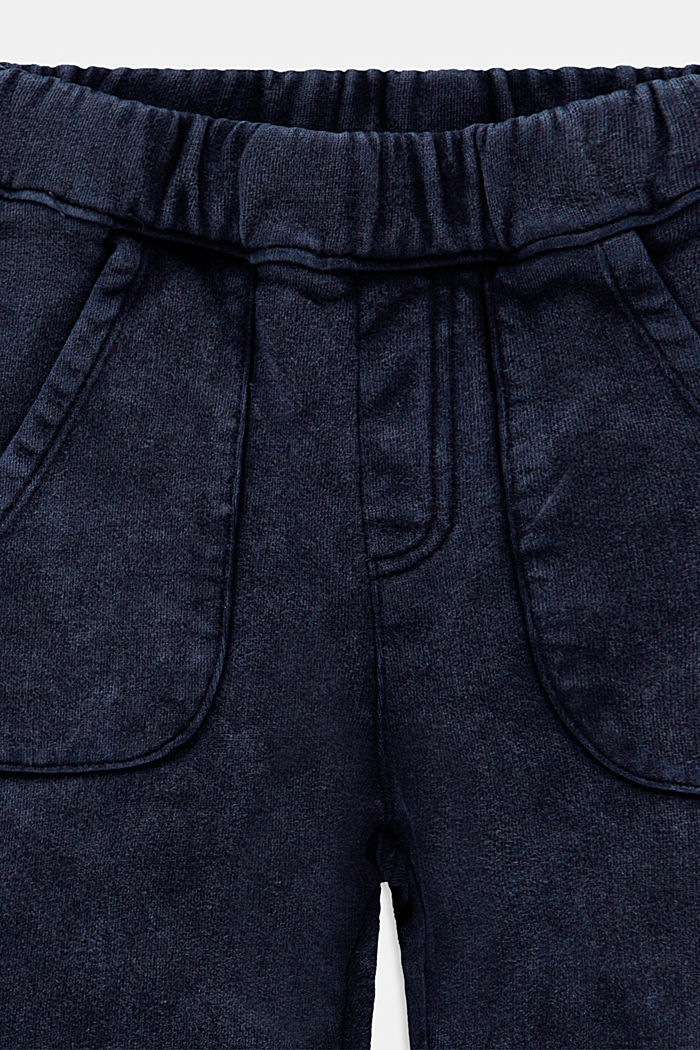 Tracksuit bottoms with a washed finish, 100% cotton, BLUE DARK WASHED, detail image number 2