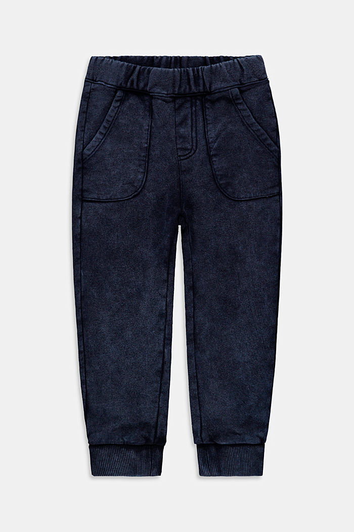 Tracksuit bottoms with a washed finish, 100% cotton, BLUE DARK WASHED, detail image number 0