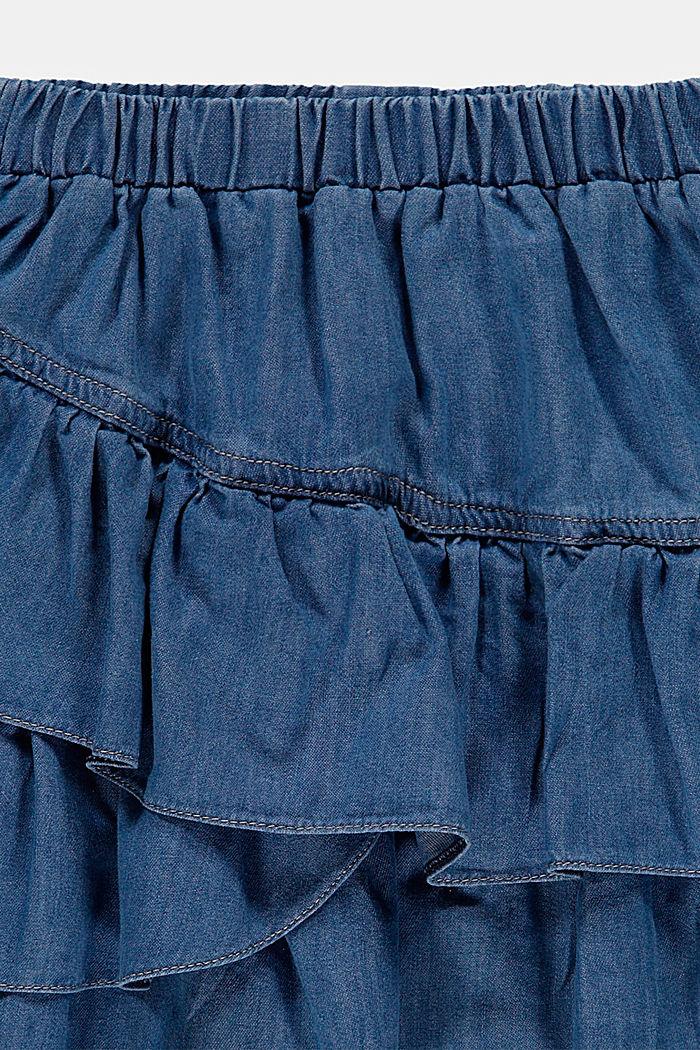 À teneur en lyocell: la jupe volantée au look jean, BLUE MEDIUM WASHED, detail image number 1