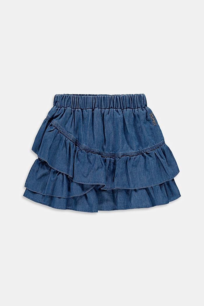S lyocellem: sukně se vzhledem džínoviny a s volánem