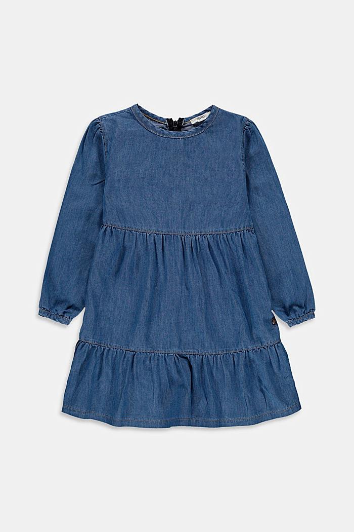 Met lyocell: jurk met volant en een denim look