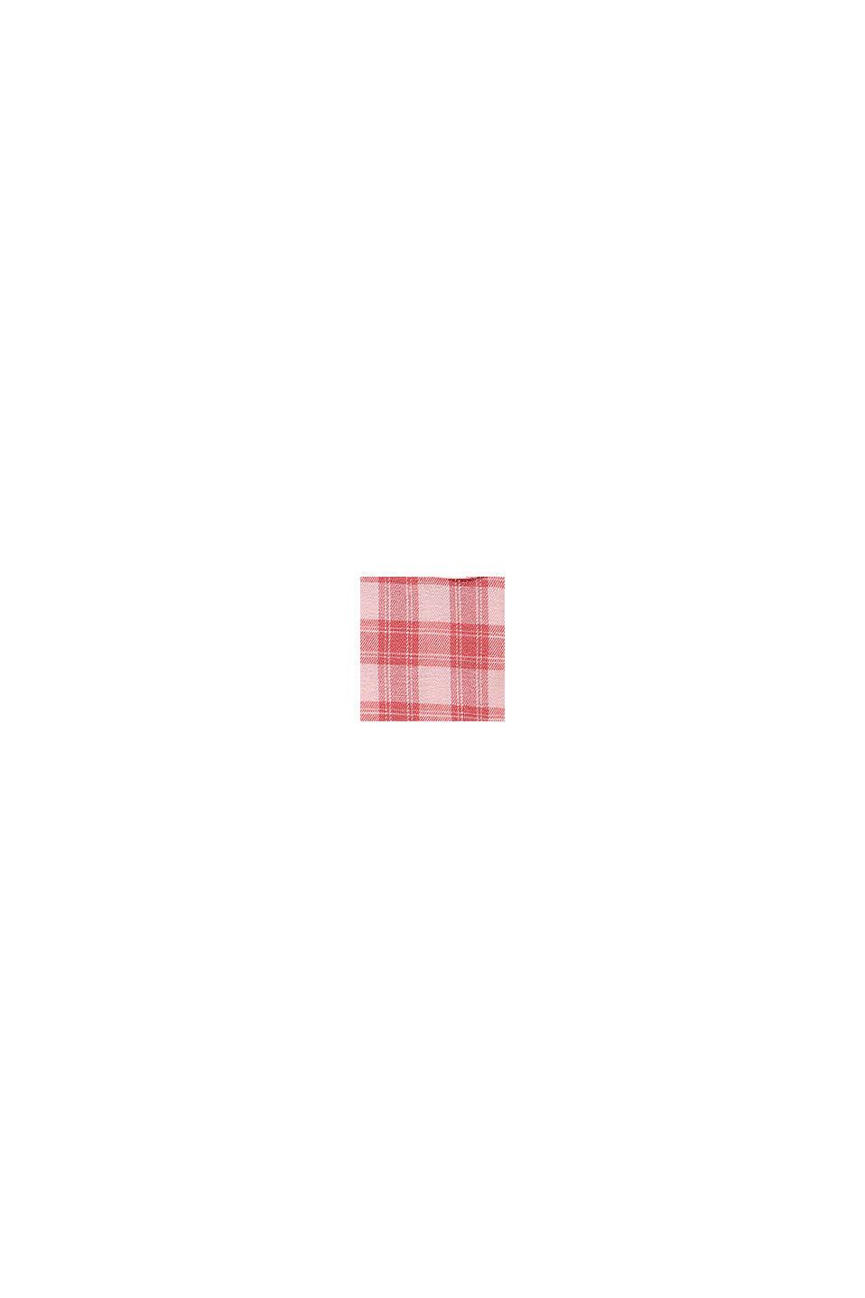 Skjortblusklänning med rutmönster och volang nedtill, PASTEL PINK, swatch