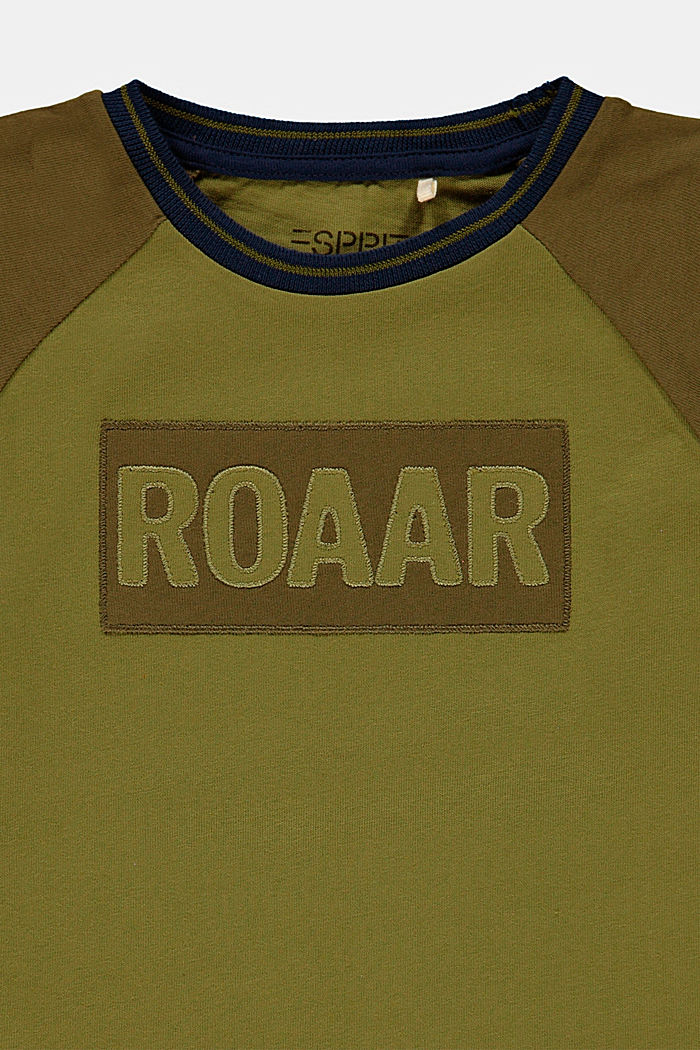 T-shirt with embroidery made of 100% cotton, LEAF GREEN, detail image number 2