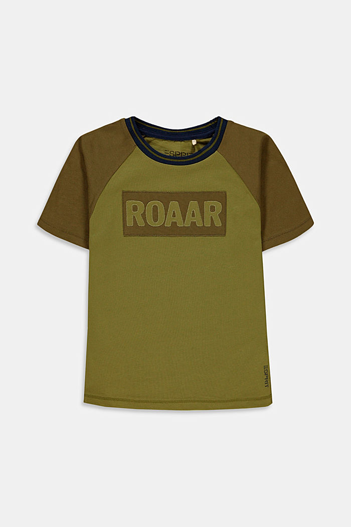 T-shirt with embroidery made of 100% cotton, LEAF GREEN, detail image number 0