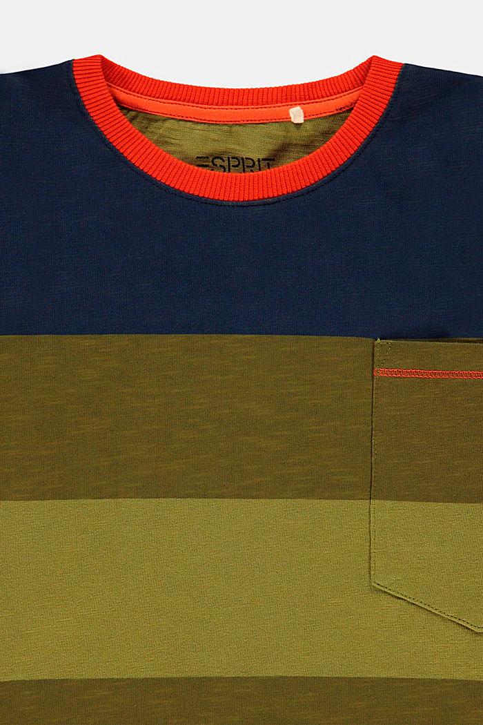 T-shirt à manches longues et larges rayures en coton, LEAF GREEN, detail image number 2