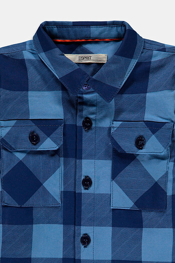 Geruit overhemd met borstzakken, 100% katoen, LIGHT BLUE, detail image number 2