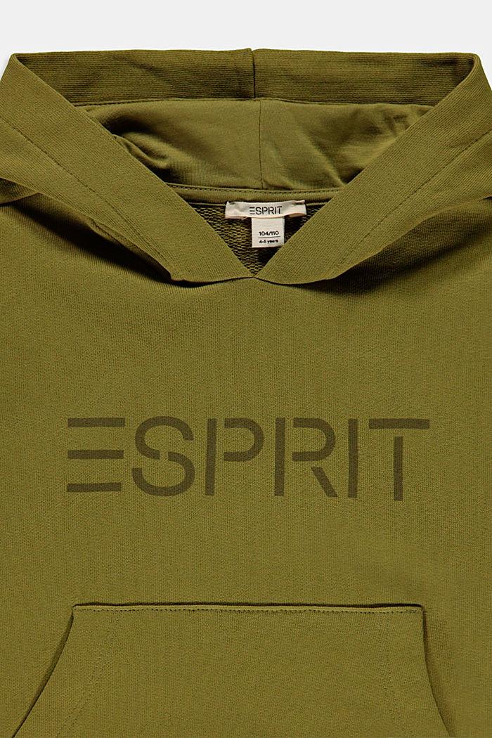 Sweat à capuche et logo, 100 % coton, LEAF GREEN, detail image number 2