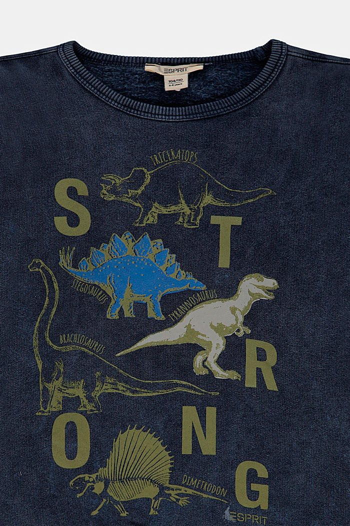 Sweatshirt with a print, 100% cotton, BLUE DARK WASHED, detail image number 2