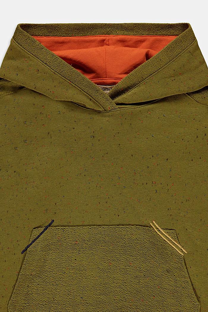 Felpa con cappuccio in filato a nodini, 100% cotone, LEAF GREEN, detail image number 2