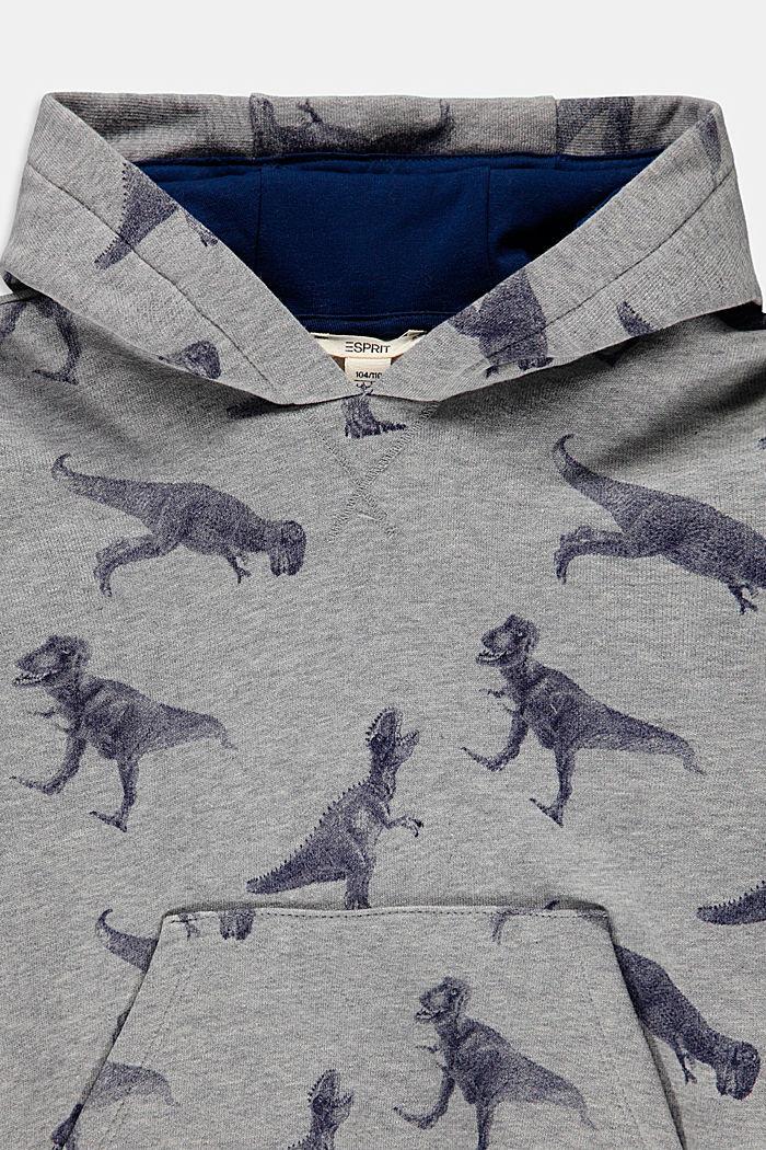 Hoodie mit Dino-Print, 100% Baumwolle, MEDIUM GREY, detail image number 2