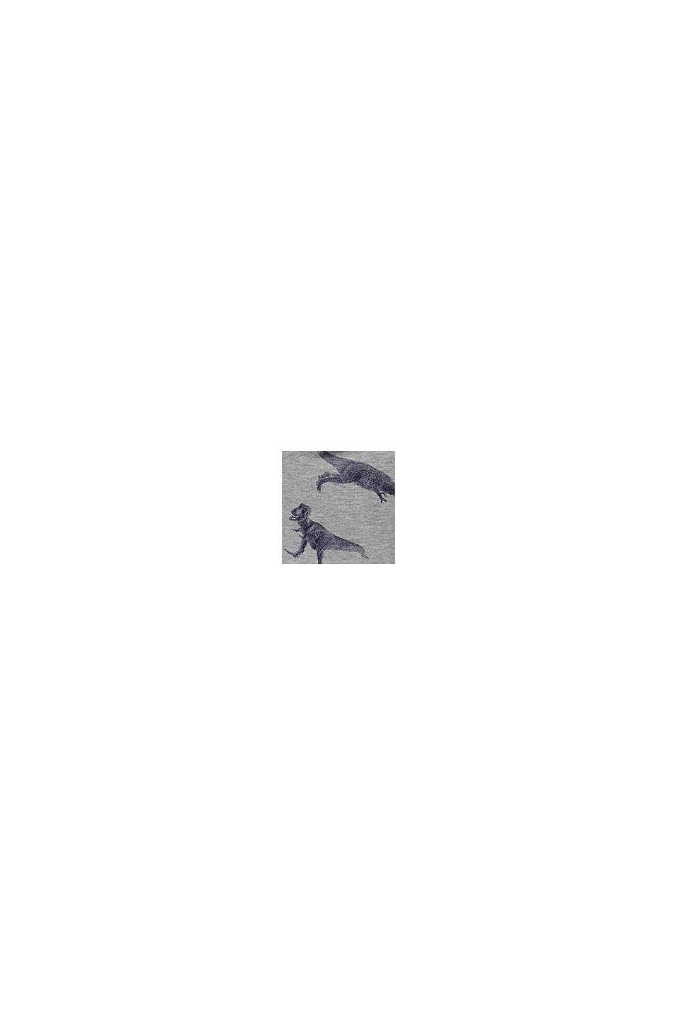 Huvtröja med dinosaurietryck, 100% bomull, MEDIUM GREY, swatch