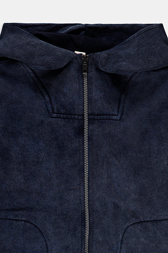 Zip hoodie in a garment-washed look, 100% cotton, BLUE DARK WASHED, detail image number 2