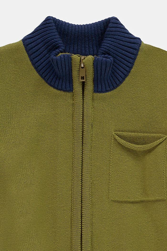 Zipp-Cardigan aus 100% Baumwolle, LEAF GREEN, detail image number 2