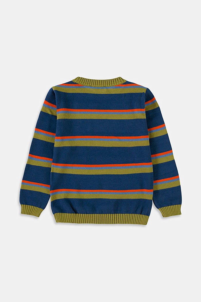Sweter w kolorowe paski, 100% bawełny, BLUE , detail image number 1