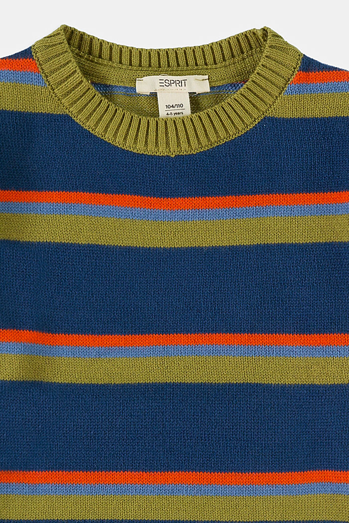 Sweter w kolorowe paski, 100% bawełny, BLUE , detail image number 2