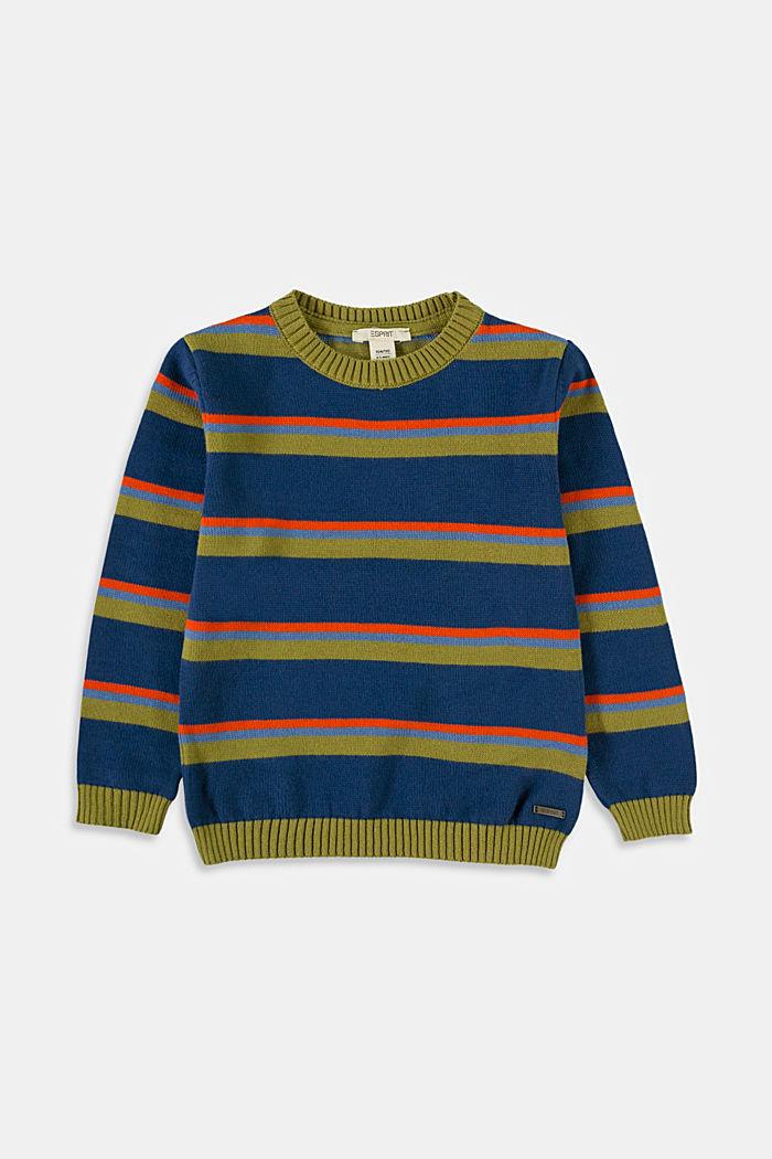 Sweter w kolorowe paski, 100% bawełny, BLUE , detail image number 0