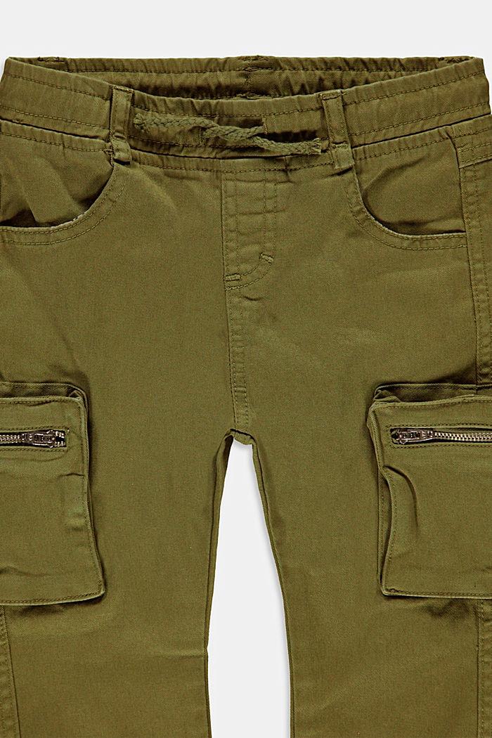 Pantalones cargo de algodón con bolsillo de cremallera, OLIVE, detail image number 1