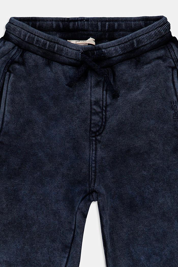 Jogginghose im Washed-Look, 100% Baumwolle, BLUE DARK WASHED, detail image number 2