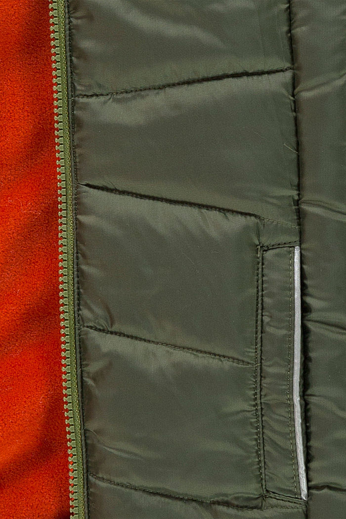 Gewatteerde jas met contrastkleurige fleece voering, OLIVE, detail image number 2