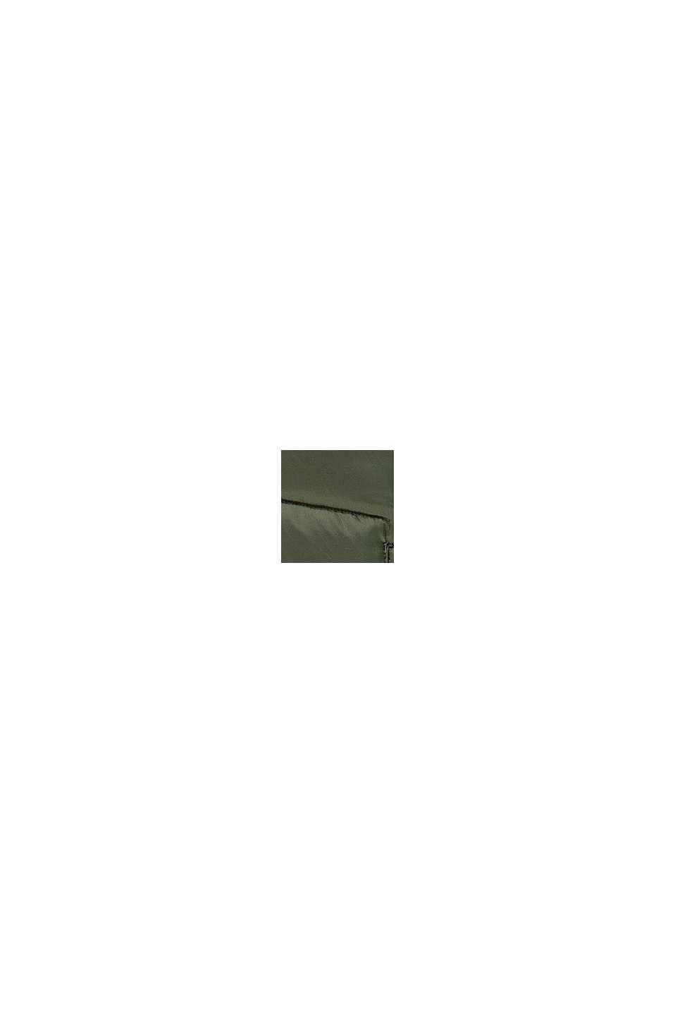 Quiltad jacka med kontrastfärgat fleecefoder, OLIVE, swatch