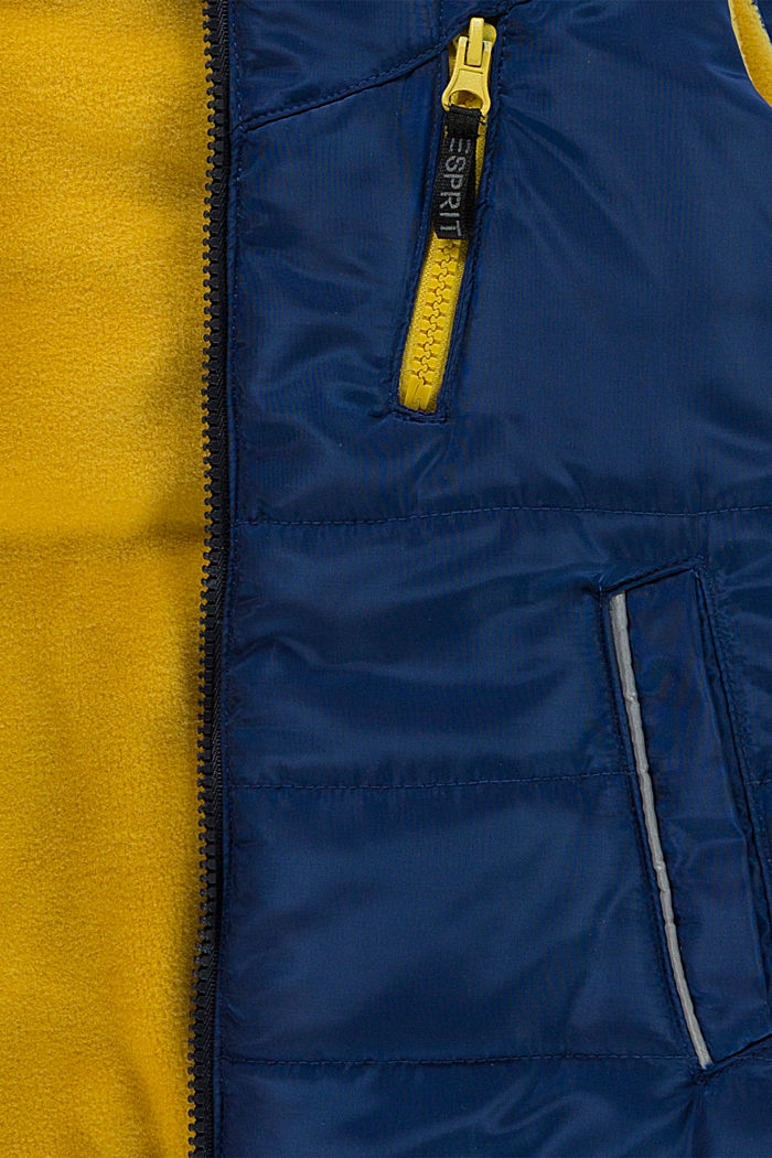 Colour block quilted body warmer with reflector details, BLUE, detail image number 2
