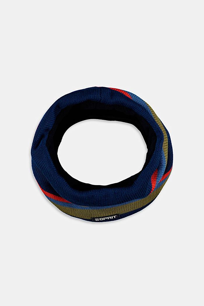 Sciarpa circolare in cotone con pile, BLUE, detail image number 0