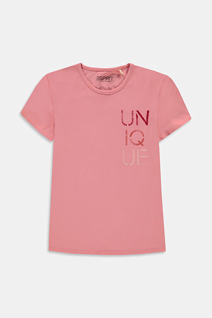 T-Shirt mit Wording-Print aus Baumwolle, MAUVE, detail image number 0