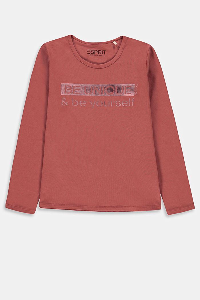 Långärmad T-shirt med tryck, 100% bomull