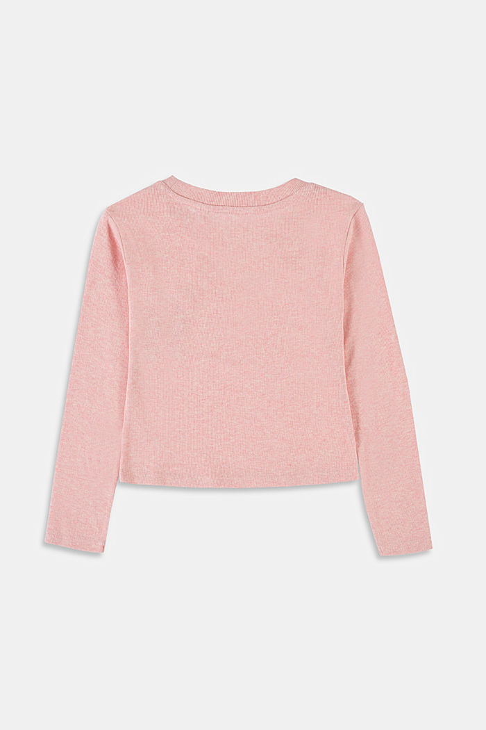 Recycled: cropped long sleeve top made of cotton, PASTEL PINK, detail image number 1