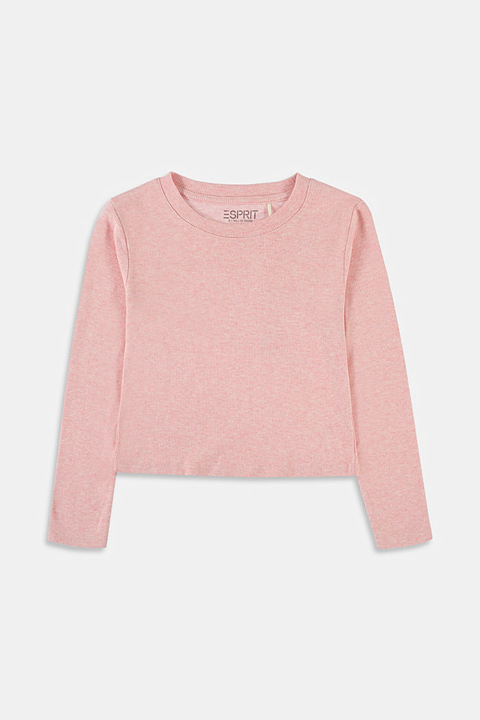 Recycled: cropped long sleeve top made of cotton, PASTEL PINK, detail image number 0