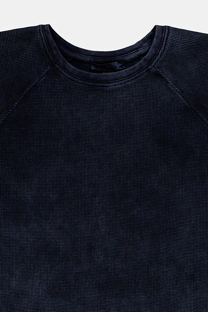 Cropped cotton T-shirt with texture, BLUE DARK WASHED, detail image number 2