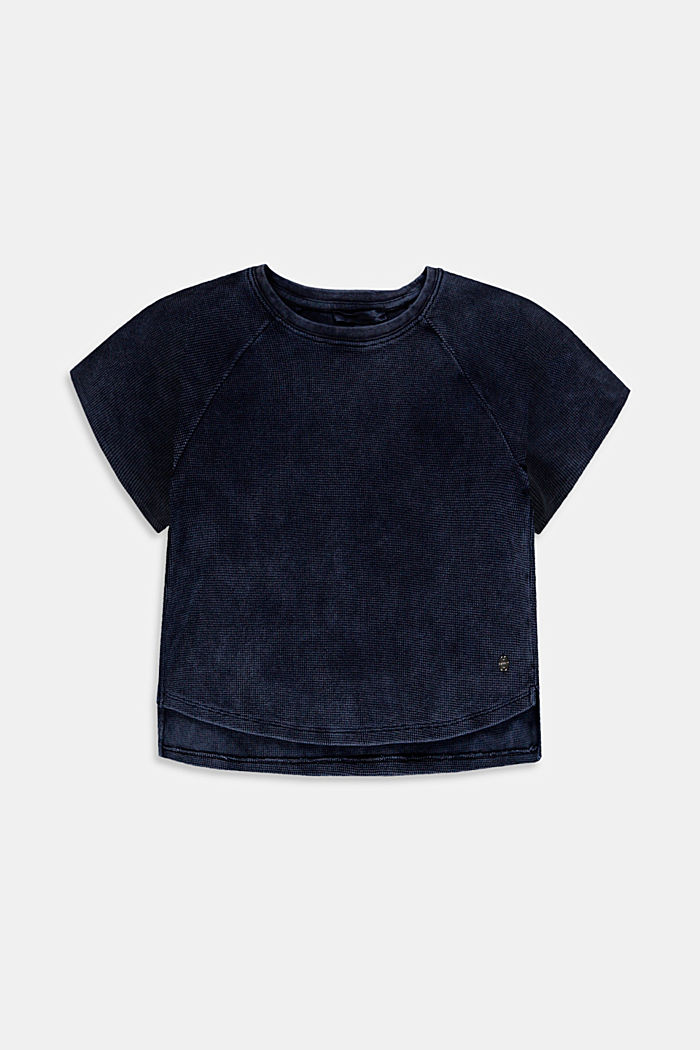 Cropped cotton T-shirt with texture, BLUE DARK WASHED, detail image number 0