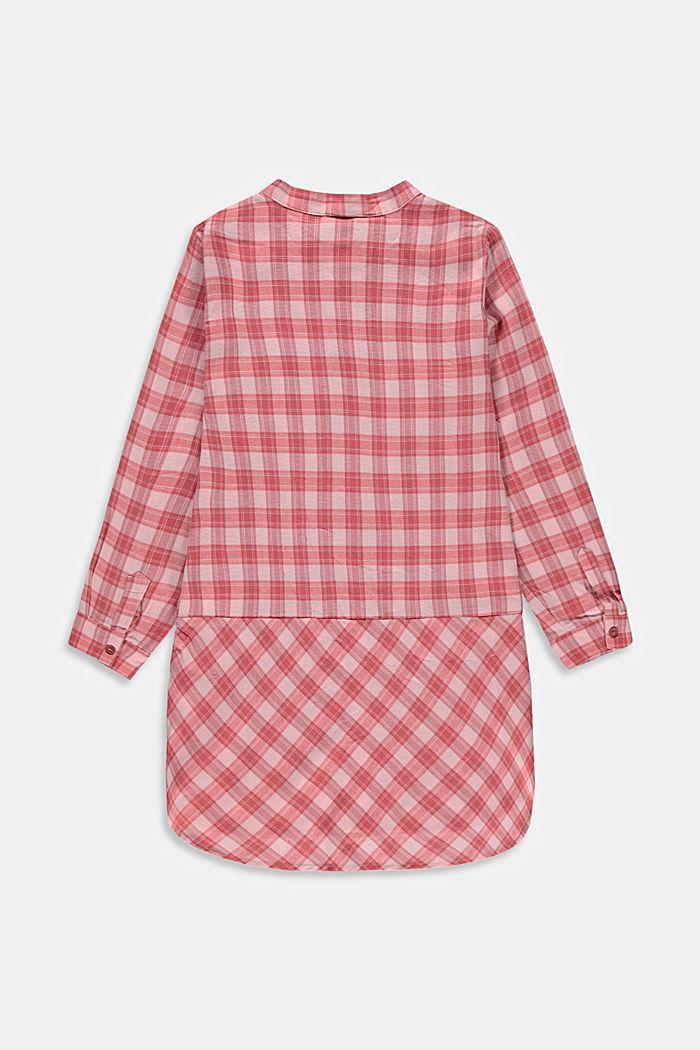 Long chemisier à motif à carreaux, 100% coton, PASTEL PINK, detail image number 1