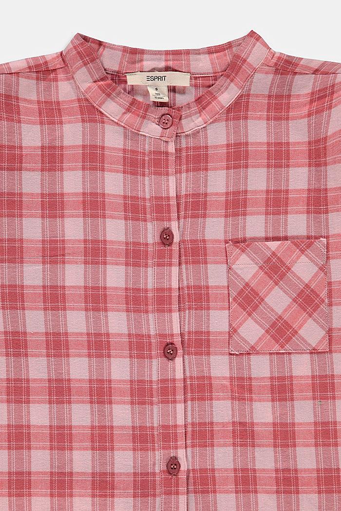 Long chemisier à motif à carreaux, 100% coton, PASTEL PINK, detail image number 2