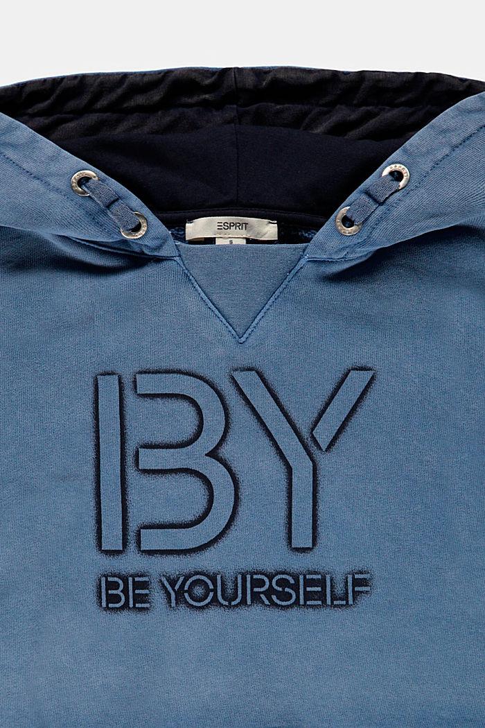 Sudadera corta con capucha y estampado, 100 % algodón, BLUE MEDIUM WASHED, detail image number 2