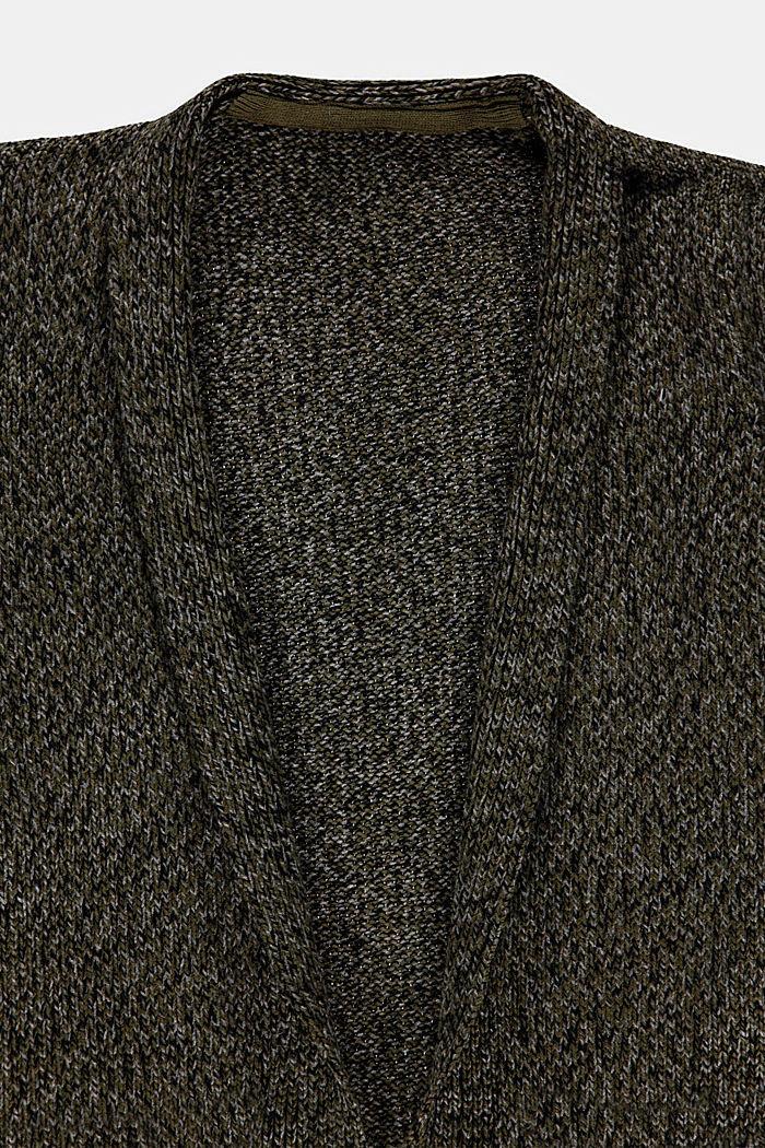 Long Cardigan in melierter Optik, KHAKI GREEN, detail image number 2